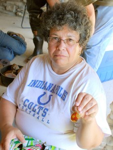 46 Debra Displays An Agate Pendant