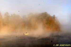 Fishermen in Boat in Fog