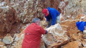 Chipping Crystals off a Boulder