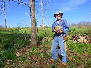 Kaleidoscope Farm Mark Finds Large Geode - Mark Pic